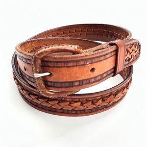 Vintage   Genuine Leather Stamped & Woven Belt